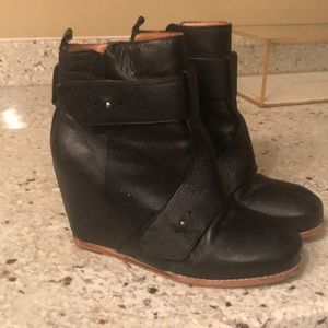 Size 8.5 black leather wedge Matiko booties